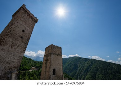 Pacentro, L'Aquila, Abruzzo.  Caldora Castle.  The castle Caldora or castle Cantelmo is an ancient fortification of Abruzzo, located in the historic center of Pacentro, in the province of L'Aquila.