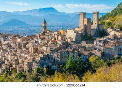 Pacentro in a late autumn afternoon, medieval village in L'Aquila province, Abruzzo, central Italy.