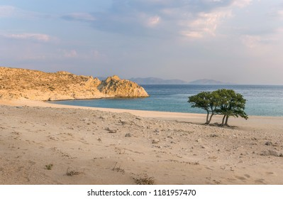 Pachia Ammos Beach in Samothrace island in Greece, at sunset with Turkey mountains in background