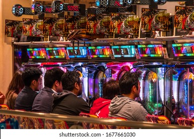 PACHINKO, TOKYO, JAPAN,-2nd NOVEMBER 2019, Pachenko a game of chance played with ball bearings  in smoky parlours in Japan.
