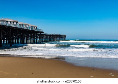 Pacific Beach in San Diego, California with the Crystal Pier.