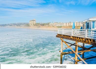 Pacific beach shoreline seen from the pier, California