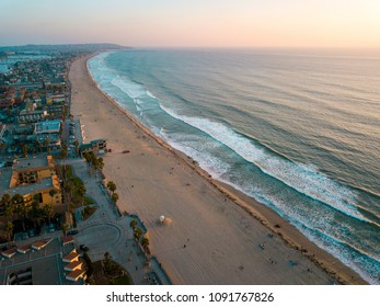 Pacific beach and the surrounding Mission bay in San Diego California aerial