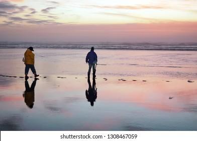 Pacific Beach, Washington / USA - December 22, 2007: People razor clamming at dusk at Pacific Beach, Washington.
