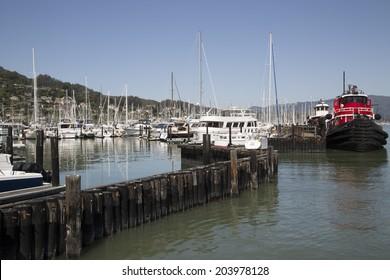 Pacific coast harbor landscape marina with boats
