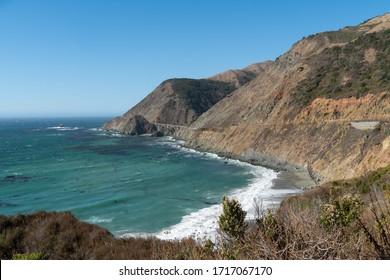 Pacific Coast Highway Ocean Side View Along California's Big Sur.