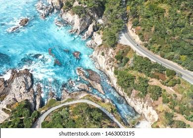Pacific Coast Highway on Ocean Drone