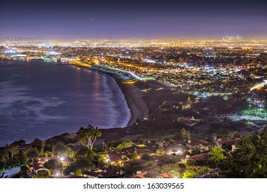 The Pacific Coast of Los Angeles, California as viewed from Rancho Palos Verdes.