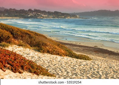 Pacific coast in sunset light; Carmel-by-the-Sea, California
