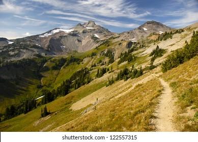 The Pacific Crest Trail winds through Cispus Basin in Washington's Goat Rocks Wilderness.