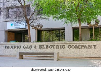 Pacific Gas and Electric Company sign in concrete near PG&E customer service center in Silicon Valley - San Jose, California, April 7, 2019
