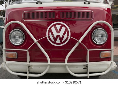 PACIFIC GROVE, CALIFORNIA, UNITED STATES - August 5, 2015: Front of a classic Volkswagen Bus at a car show in downtown Pacific Grove.