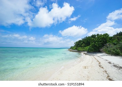 Pacific island beach with clear tropical water, Taketomi Island of the Yaeyama Islands, Okinawa, Japan