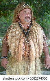 Pacific Islander tribal chief man in Rarotonga, Cook Islands. Real people. Copy space