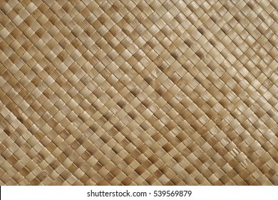 Pacific Islands weaving, closeup of a woven Pandanus mat
