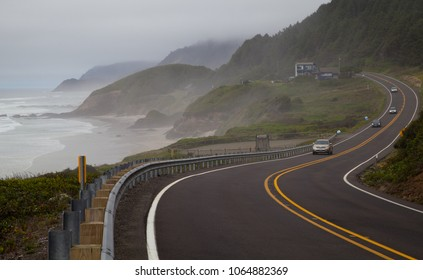 Pacific Northwest Coast, USA - the winding US route 101 along the misty Oregon coastline near Yachats