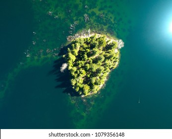 Pacific Northwest Evergreen Tree Island From Above Calm Water