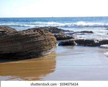 Pacific Ocean Beach and Rocks at Crystal Cove California