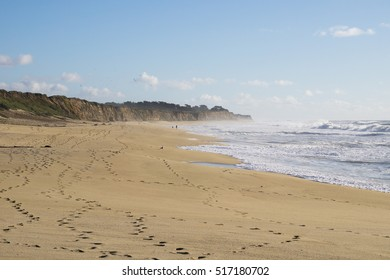 The Pacific Ocean coast and beach in Half Moon Bay, California