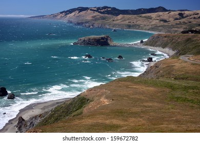 The Pacific Ocean coastline turns rocky and dramatic in California's Sonoma County.