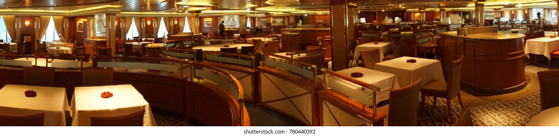 PACIFIC OCEAN - DEC 6, 2017 - Formal dining room on a cruise ship, eastern Pacific Ocean