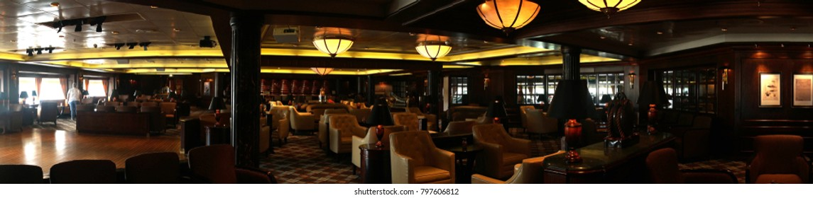 PACIFIC OCEAN - DEC 6, 2017 - Specialty bar seating on a cruise ship, eastern Pacific Ocean