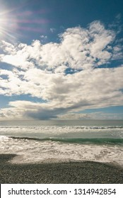 Pacific ocean with dramatic cloud formations, Torrey Pines State Natural Reserve, San Diego, California, USA