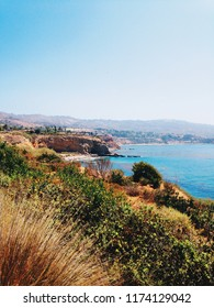 The Pacific Ocean on a sunny day from a hike in Rancho Palos Verdes, California.