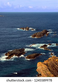 Pacific Ocean from the rocky coast of Booti Booti National Park in Australia