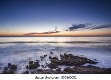 Pacific Ocean sunset, California, USA.