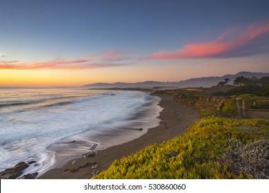 Pacific Ocean sunset, HWY1, California, USA.