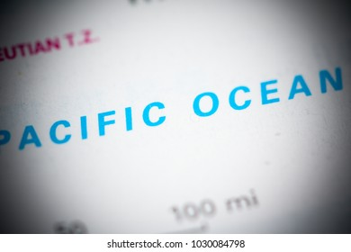 Pacific Ocean. USA on a map.