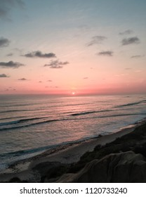 Pacific Ocean view in Carlsbad California State beach with beautiful clear sunset