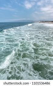Pacific ocean wave at Venice beach in Santa Monica