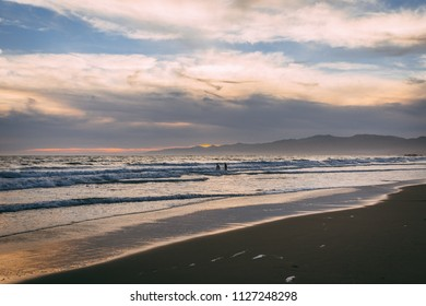 The Pacific Ocean, white sandy beach, Los Angeles USA