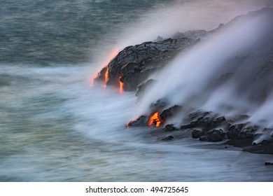 The Pacific ocean, the wind, and Kilauea form the playground for Pele to create new land near Kalapana on the Big Island of Hawaii