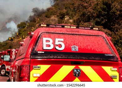 Pacific Palisades, California / United States - October 21 2019: Pacific Palisades Brush Fire Incident Command