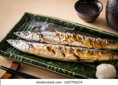 Pacific saury and Japanese sake