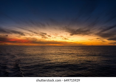 Pacific sunset in the middle of the ocean