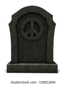 pacific symbol on a gravestone - 3d illustration