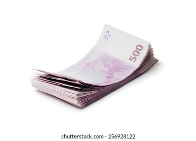 Pack of banknotes. Isolated over white background.