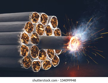 A pack of cigarettes in the form of dynamite ready to explode.