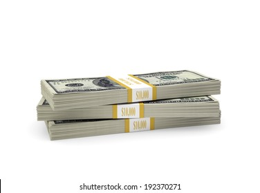Pack of dollars. Isolated on the white background