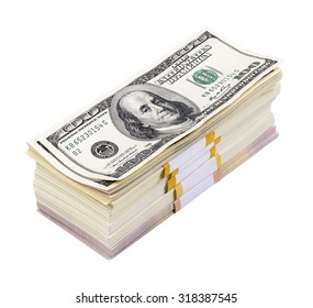 pack of dollars isolated on a white background