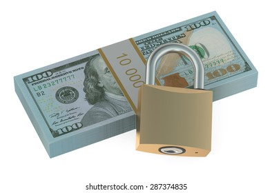 Pack of dollars with lock  isolated on white background