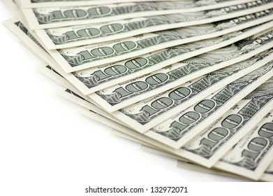 Pack of dollars on a white background.