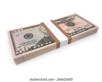 Pack of fifty dollars bank notes. 3D illustration.