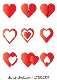 Pack of figures of red hearts