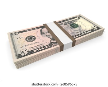 Pack of five dollars bank notes. 3D illustration.