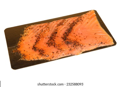 Pack of fresh smoked salmon with herbs